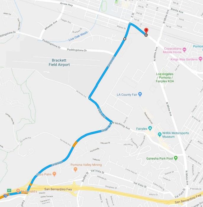 Map to Pomona Fairplex
