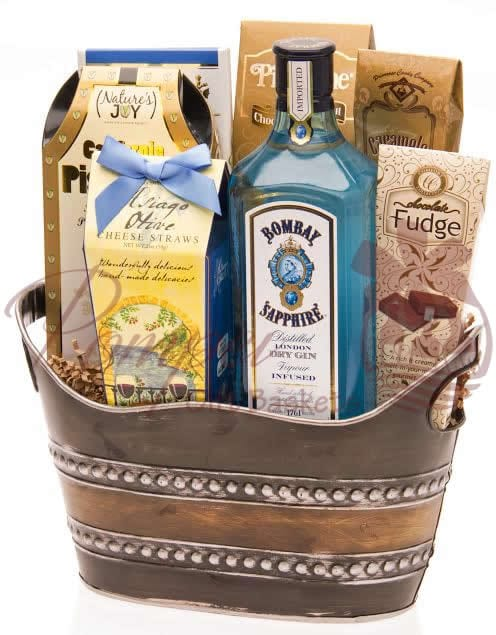 Bombay Blues Gin Gift Basket By Pompei Baskets