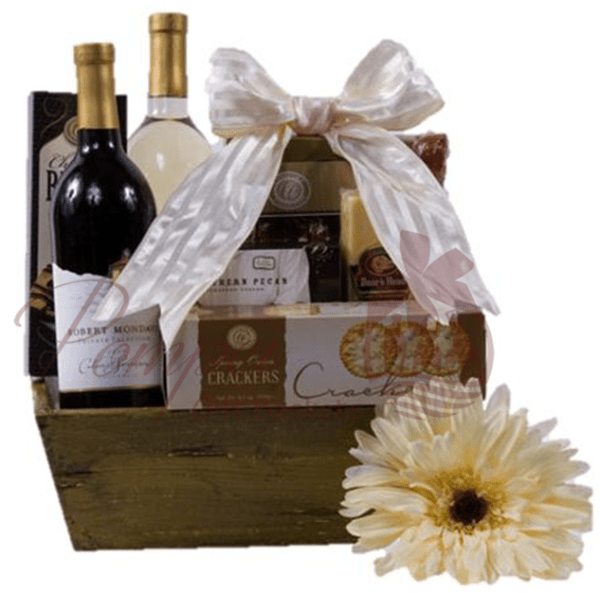 Just Because Wine Gift Basket By Pompei Baskets