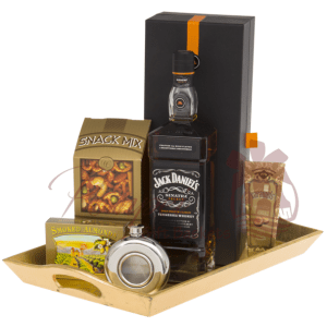 Sinatra Select Whiskey Gift Basket comes complete with 1L Jack Daniel's Sinatra Select Whiskey on a serving tray with goodies!