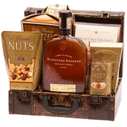Sophisticated Reserve Whiskey Gift Basket, woodford gift basket, woodford reserve gift basket, engraved woodford reserve gift basket, gift baskets for men