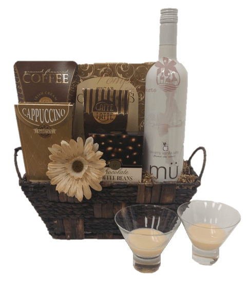 Vanilla latte wine gift basket from pompei baskets vanilla latte wine gift basket free delivery gift basket free delivery wine gift basket negle Image collections
