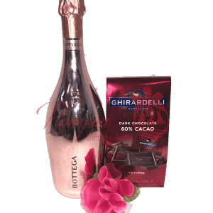 Pretty in Pink Prosecco Gift Set, Bottega Rose Gold Prosecco, Bottega Rose Gold Metallic Collection, Engraved Bottega Rose Gold, Engraved Anniversary Gifts, Engraved Valentines Gifts