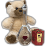 Love Trio Grappa Gift Set, where to buy Alexander Aqva di Vita Grappa Heart, unique liquor bottles, blown glass liquor bottle, valentines day gift set, Alexander Aqva di Vita Grappa Heart gift basket, Alexander Aqua di Vita Grappa Heart