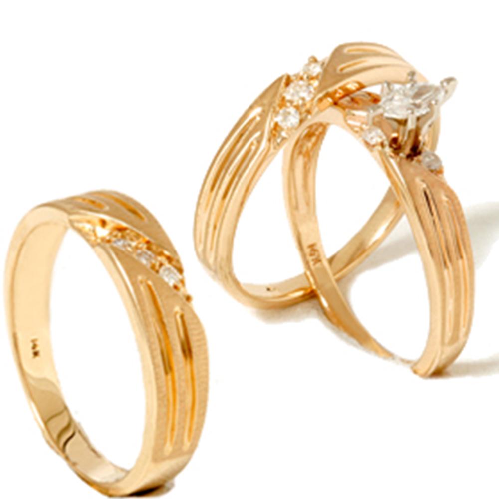 1/4ct Diamond Matching Trio Wedding Ring Set 14K Gold