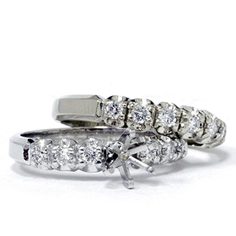 1/2ct Diamond Semi Mount Engagement Wedding Ring Set