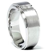 Mens 14K White Gold Princess Cut Diamond Wedding Ring | eBay