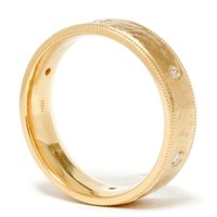 Mens 14K Gold Diamond Hammered Wedding Ring Band New