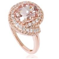 1 3/4ct Morganite Diamond Vintage Halo Engagement ...