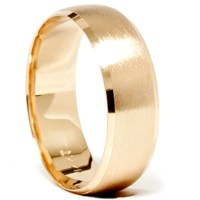 Mens 14k Gold 8mm Beveled Brushed Wedding Ring Band New | eBay