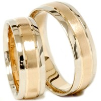 Gold Matching His Hers Two Tone Wedding Ring Band Set | eBay