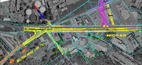 Atlanta Map Traffic.Marietta Boulevard Bolton Road Traffic Study Pond Company