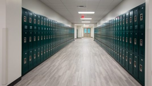 Allen Nease High School hallway showing locker rooms