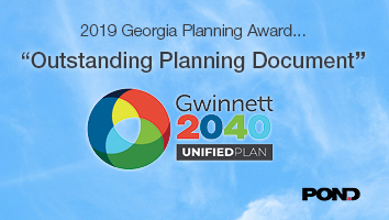 "Pond Recognized with ""2019 Outstanding Planning Document"" Award for Gwinnett 2040 Unified Plan"