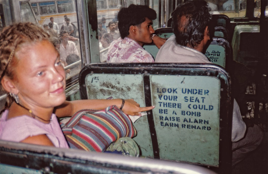 me on a bomb scared bus in india