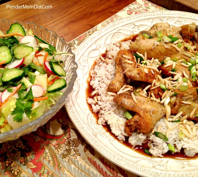 Asian Crockpot Chicken and Salad with Sesame Dressing