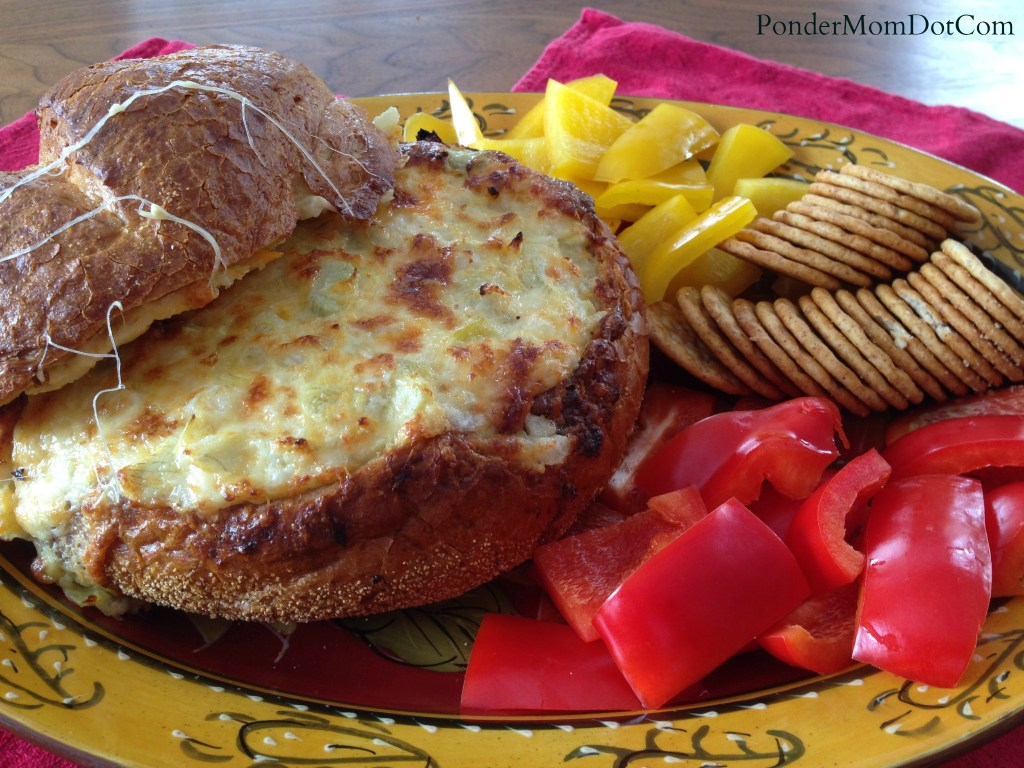 Baked Cheese and Artichoke Dip in a Sourdough Bread Bowl