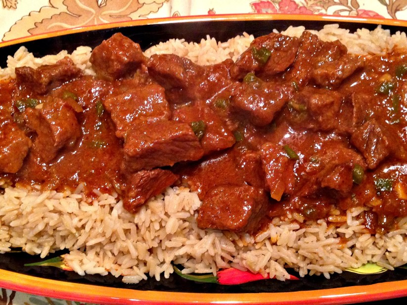 Carne Guisada over Brown Rice