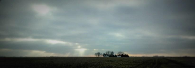 U of I trip panoramic - winter farmland in Illinois