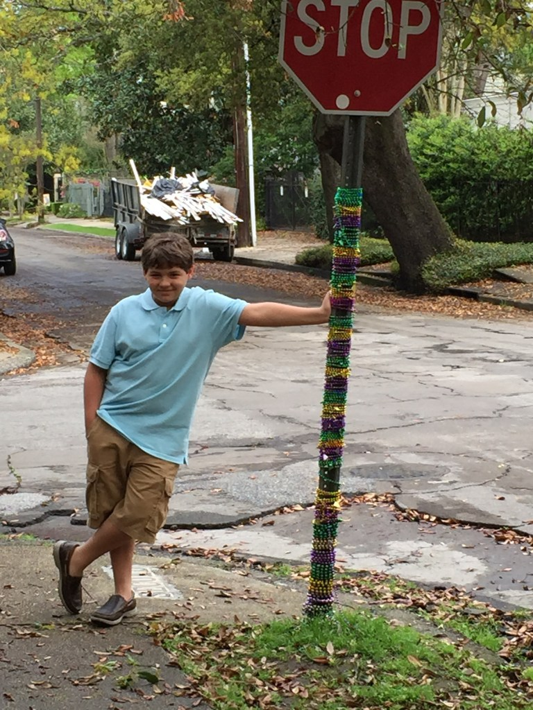 Spring break in New Orleans - Spence and the gilded stop sign