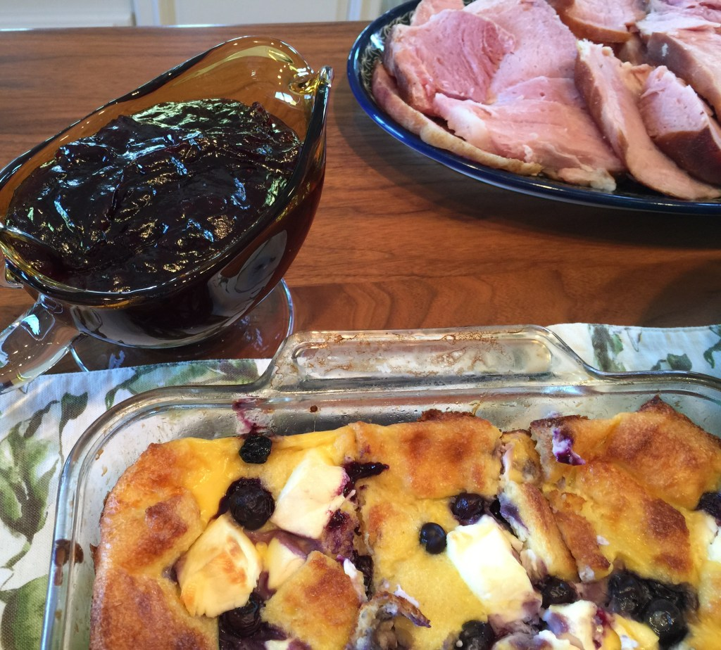 Blueberry French Toast Casserole for Brunch: Finished casserole and sauce