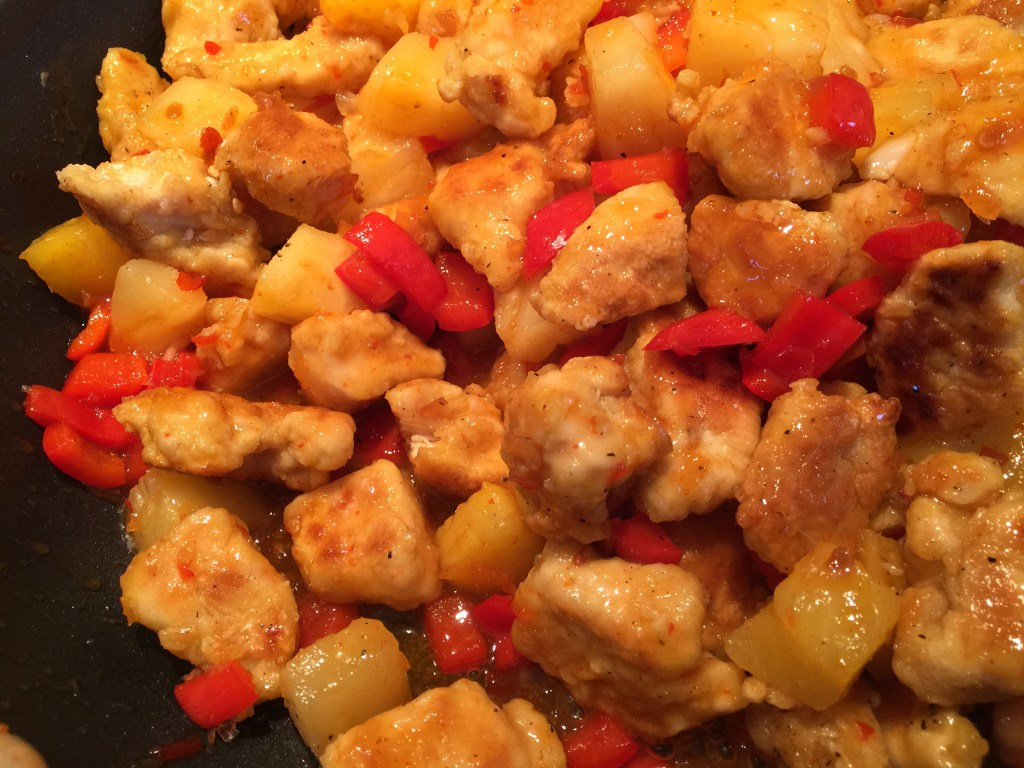 Panda Express Sweet Fire Chicken: stir in the sauce, pineapple and red pepper