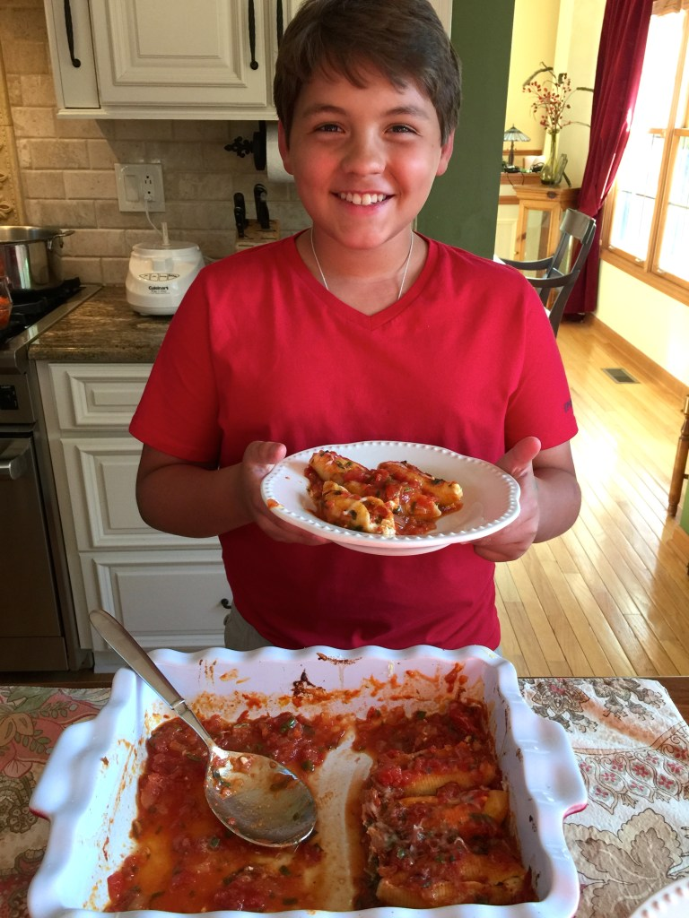 Summery Stuffed Shells: Spence looks happy!