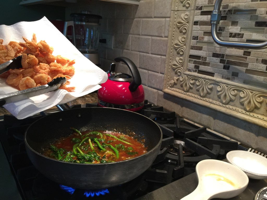 General Tso's Shrimp with Broccolini: Putting all of the pieces together - heavenly!