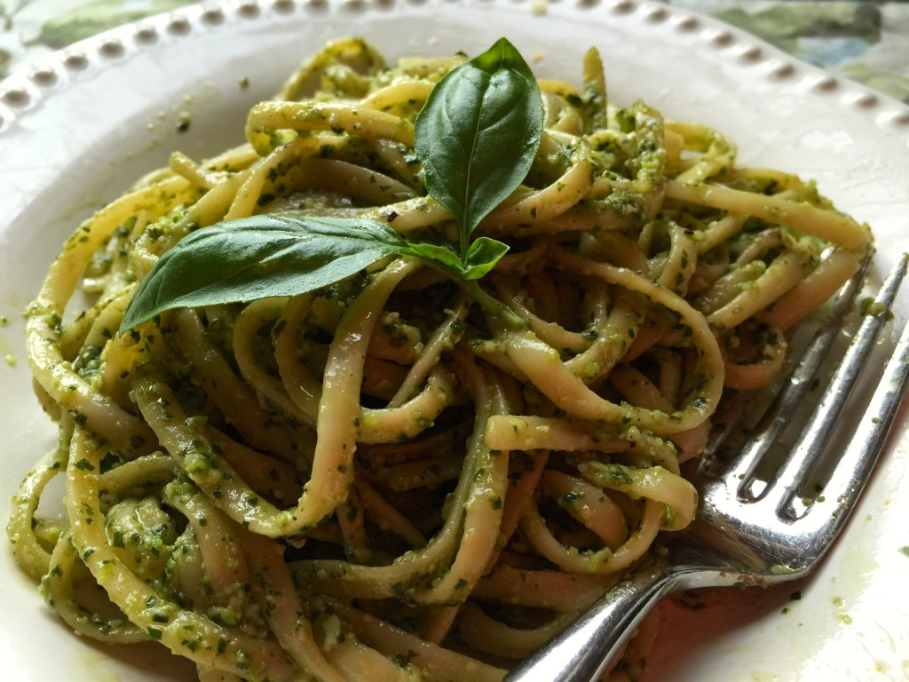 "Basil Pesto Pasta Using Linguini a.k.a., ""Lingreeni"": So, so good."