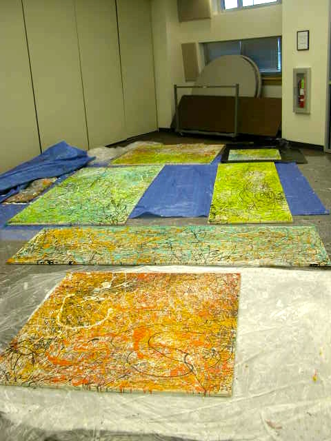 Parents Creatively Teaching Kids About Art: Completed Jackson Pollock paintings made by elementary school students.
