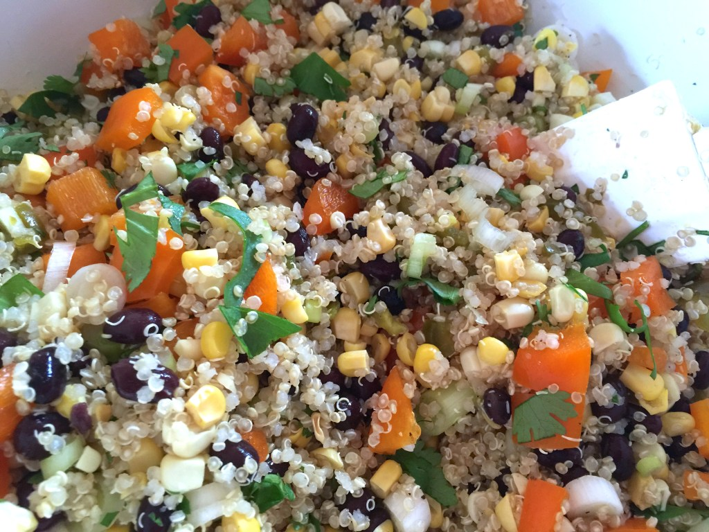 Quinoa salad with black beans, corn, and avocado: Mix it all up.