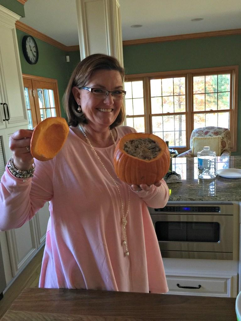 Sarah with pumpkin