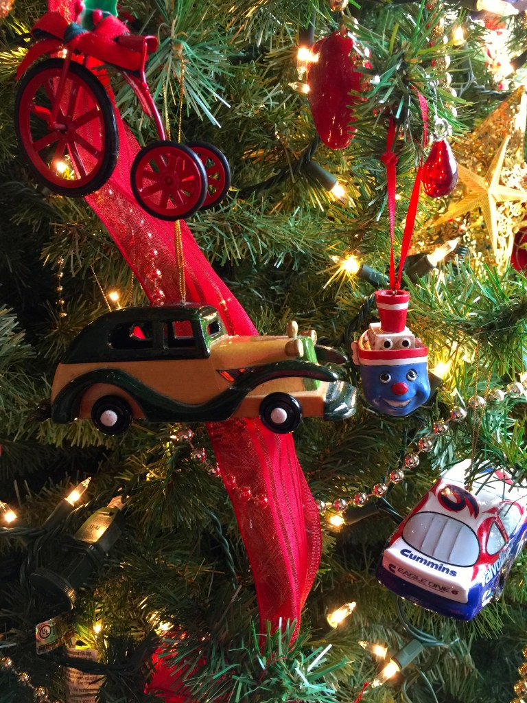 Decorating the Christmas Tree: Spencer's transportation ornaments