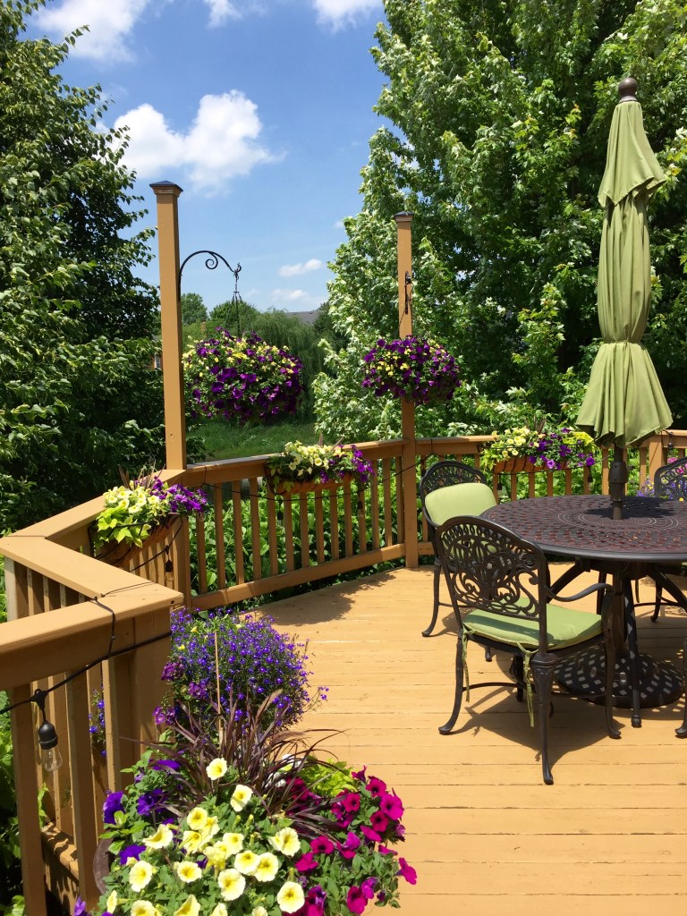 Garden Poem: Our deck decked out with flowers