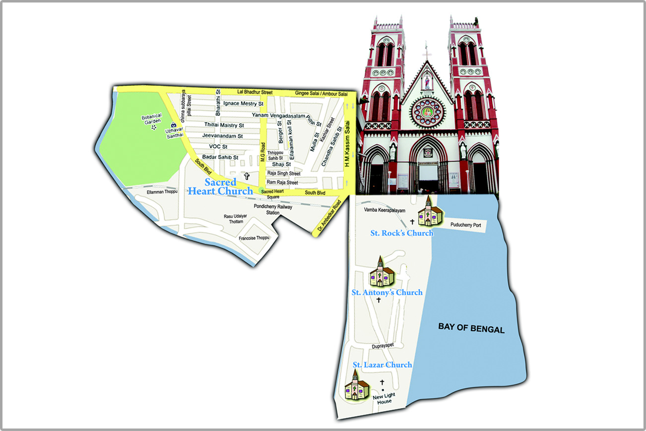 hight resolution of sacred heart basilica puducherry