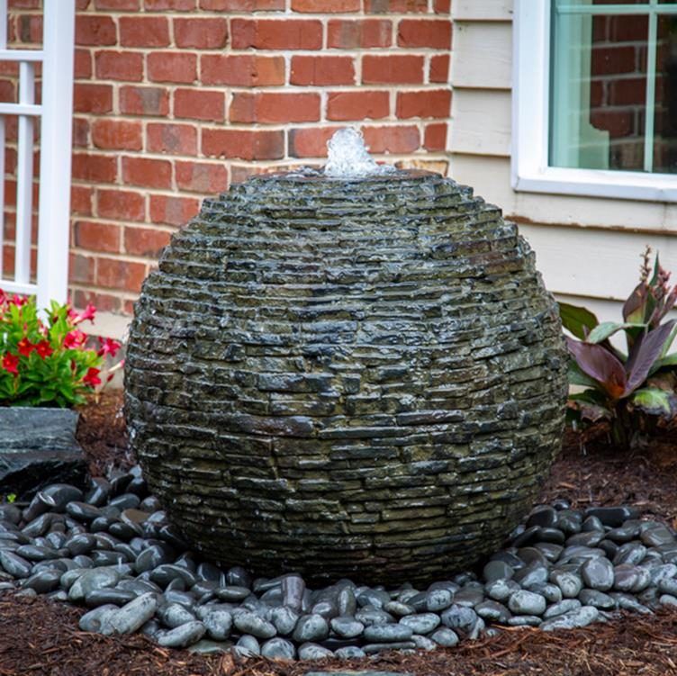 Aquascape Stacked Slate Sphere Urn Medium Landscape
