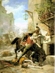 Malasaña y su hija se baten contra los franceses en una de las calles que bajan del Parque a la de San Bernardo. Dos de mayo de 1808   1887   Eugenio  Álvarez Dumont   Museo Nacional del Prado (Madrid)