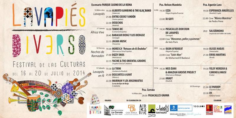 Nuevo Cartel Programación  Lavapiés Diverso   Festival de las Culturas   Del 16 al 20 de julio de 2014   Diseño de Pablo Pámpano Vaca