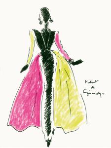 Hubert de Givenchy en el Museo Thyssen-Bornemisza hasta enero 2015   Figurín del vestido tubo de noche de terciopelo negro con gran cuello   1992
