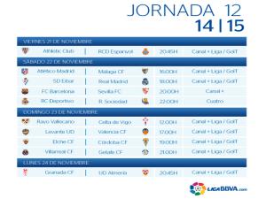 Calendario   Jornada Décimo segunda   Liga BBVA   Temporada 2014-2015   Del 21 al 24 de noviembre de 2014