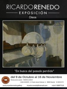 Exposición óleos Ricardo Renedo   'En busca del pasado perdido'   Restaurante Asador Figón El Baco   Madrid   Del 9 de octubre al 16 de noviembre de 2014   Cartel