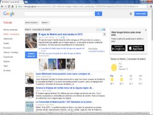 Pantallazo de la edición española de Google Noticias, sección 'Madrid, Comunidad de Madrid', del 11 de diciembre de 2014