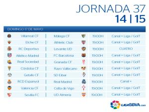 Calendario   Jornada trigésimo séptima   Liga BBVA   Temporada 2014-2015   Domingo 17 de mayo de 2015