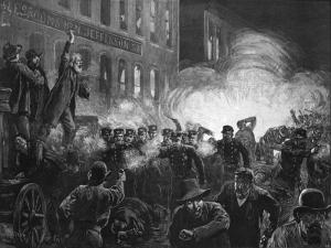 Grabado de 1886 con Samuel Fielden dirigiéndose a los obreros durante la Revuelta de Haymarket ('The Haymarket Riot') mientras estalla la bomba | Fuente: Wikimedia