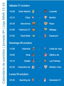 Calendario de partidos | Jornada 8ª | Liga BBVA | Temporada 2015-2016 | Del 17 al 19 de octubre de 2015