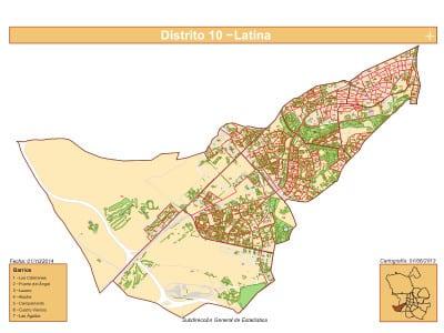 Plano 7 barrios distrito Latina (Madrid) | Fuente Subdirección General de Estadística del Ayuntamiento de Madrid