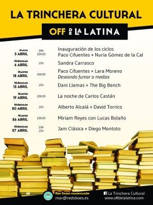 La Trinchera Cultural   Martes Literarios y Miércoles Musicales   Off de La Latina   Madrid   Programación abril 2016