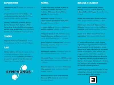 Symphonos 16   Héroes y antihéroes   Festival de las artes en el Barrio de la Música   14-23/04/2016   Entorno Conde Duque   Madrid   Programa