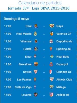 Calendario de partidos   Jornada 37ª   Liga BBVA   Temporada 2015-2016   8 de mayo de 2016