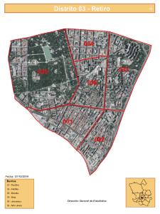 Plano de los 6 barrios del distrito de Retiro de Madrid
